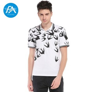 European style swallows printed lapel short sleeve large size men's polo T - shirt