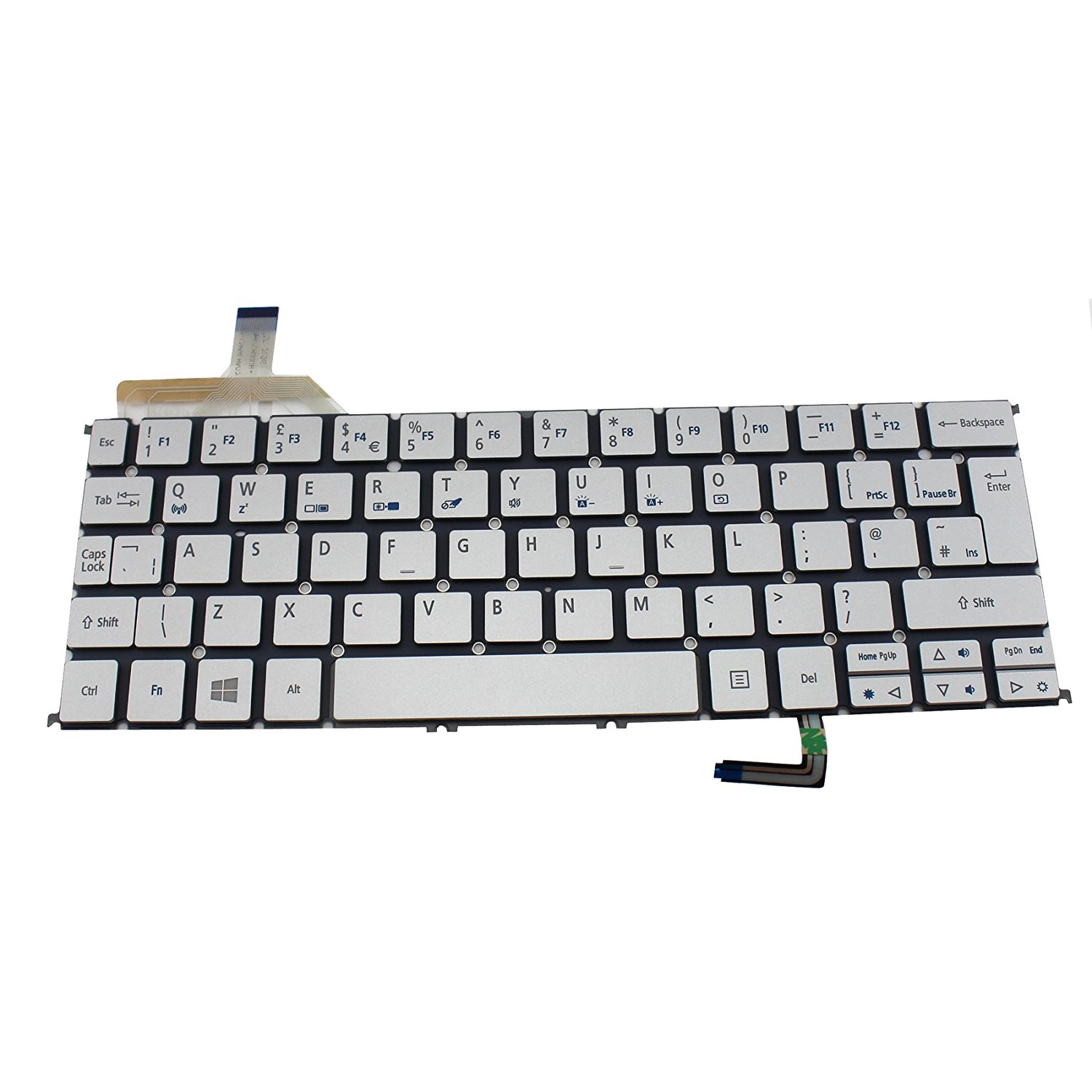 4e20a2cbf3f Generic NEW Siver QWERTY Laptop UK Keyboard With Backlit For Acer Aspire S7-191  S7