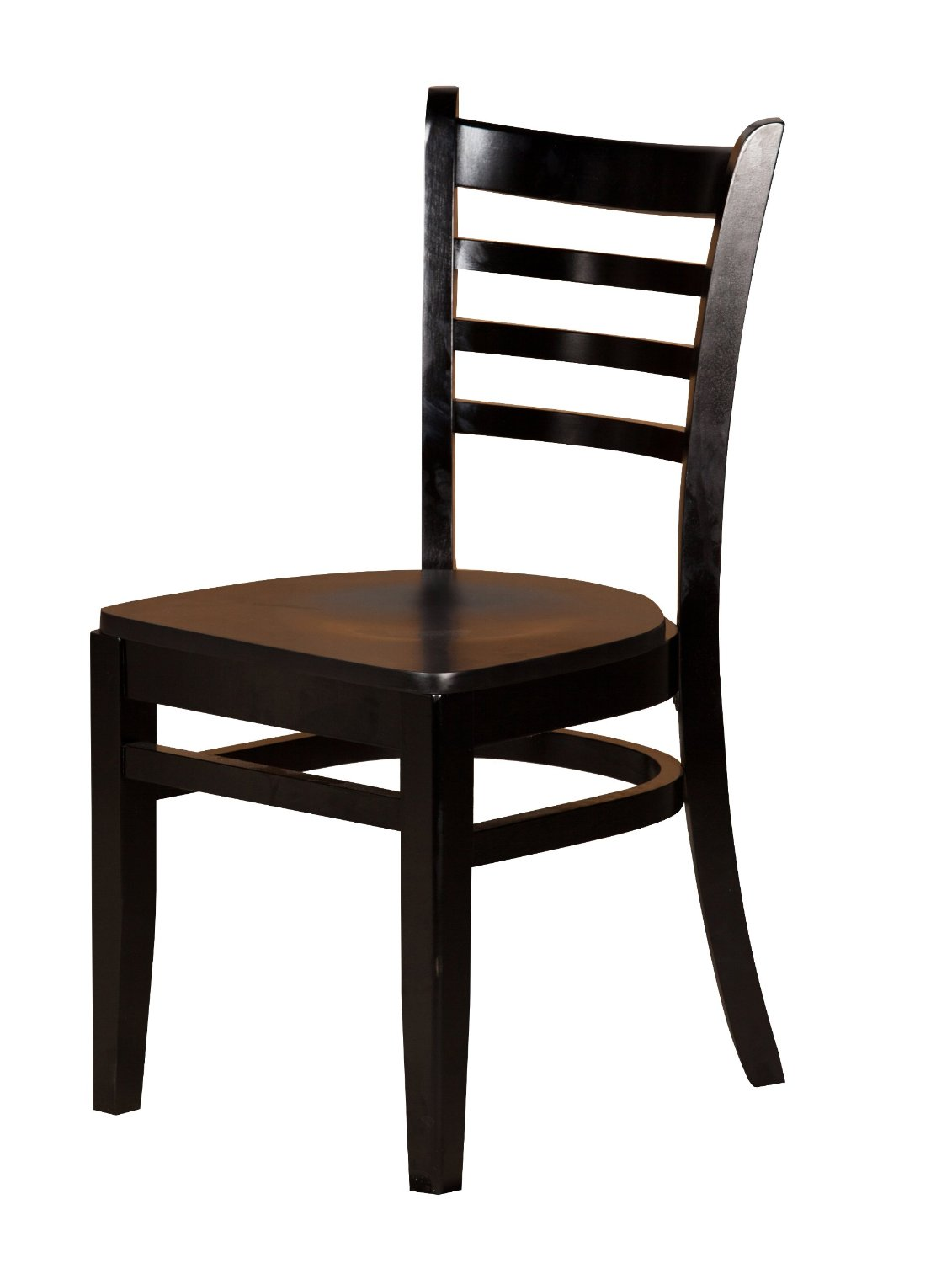 "Oak Street Manufacturing WC101BLK Solid Black Wood Frame Ladderback Dining Chair with Black Wood Seat, 18"" Width x 17"" Depth"