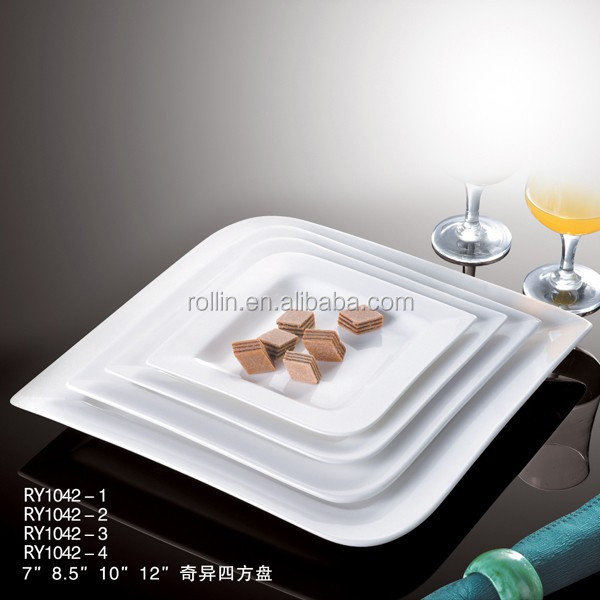 Hot sale hotel restaurant porcelain dishwasher safe cheap white square wholesale ceramic - Vaisselle en gros pas cher pour particulier ...