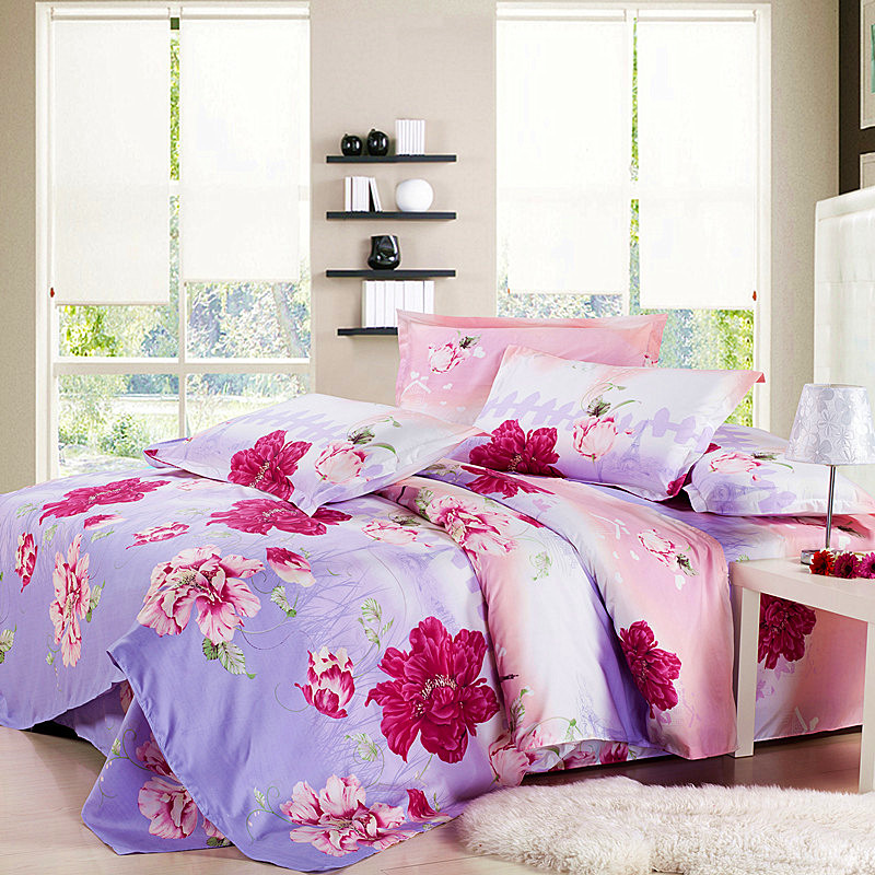 Hot Sale! 3/4pcs King Queen Full Size Bed Linen Home