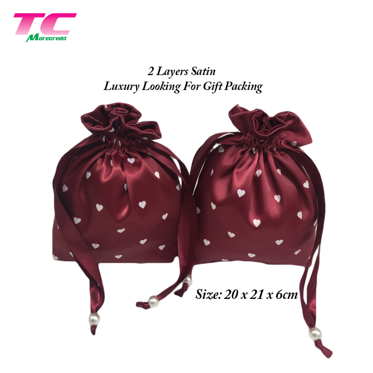 Luxury Style Custom Printed Logo Drawstring Satin Pouch For Perfume