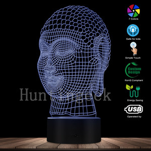 3D Budda Head Night Light Yoga Mediation Gift Buddhist Lamp Home Decor Peaceful Relaxing LED Lamp Zen Room Decorative Mood Light