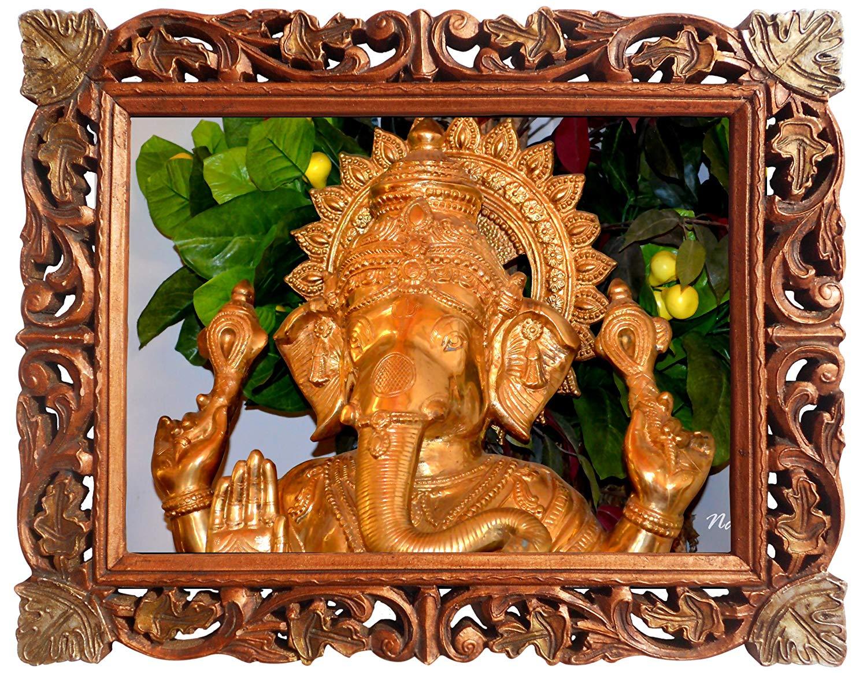 Ganesha Bust Poster Frame in Handcrafted Wood Craft Frame, Indian Handicrafts