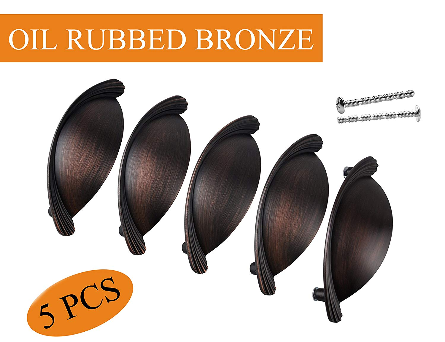 Oil Rubbed Bronze Bin Cup Handle for Cabinet Hardware,3 inch(76MM) Drawer Pulls in Black 5 PCS,XJPLZ118976ORB-5PAMZ