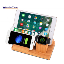 4 PORT Bamboo Wood Charging Station Dock & Organizer for Smartphones, Tablets & Other Gadgets For Apple watch Charging stand