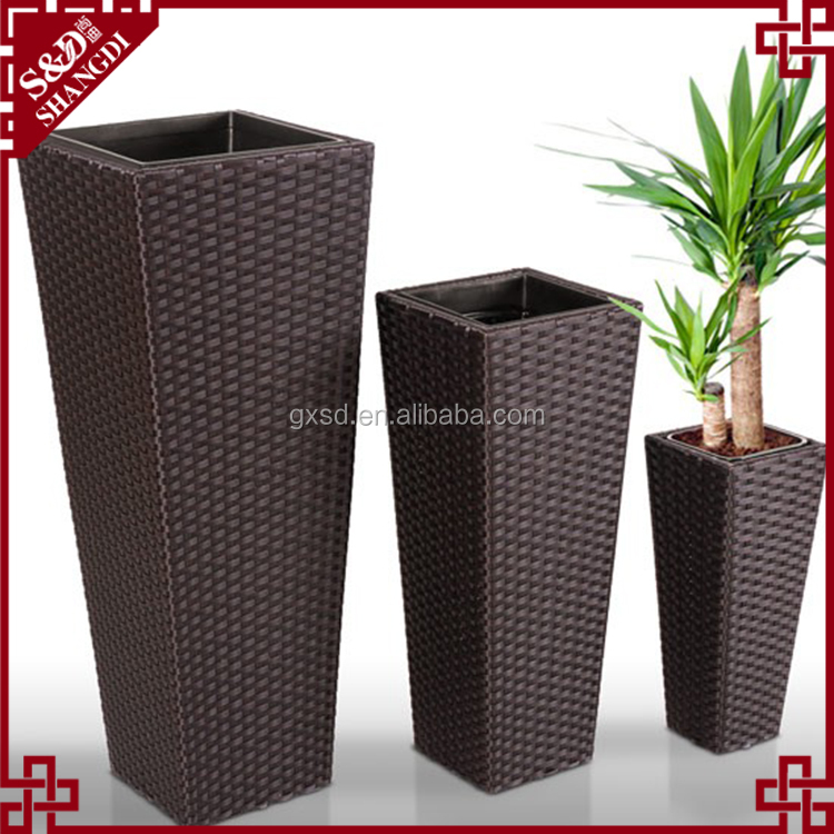 S&D Various plastic pe rattan hand made outdoor decorative indoor flower pots / cheap garden ceramic planters and pots set of 3