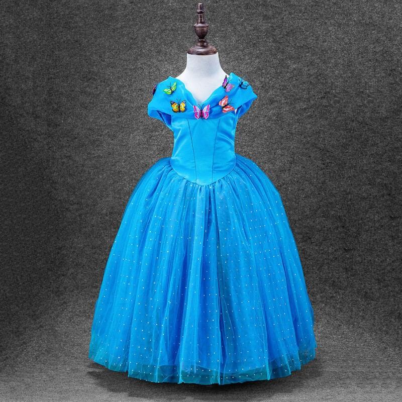 2016 new summer style cinderella child girls font b dress b font blue butterfly princesses font