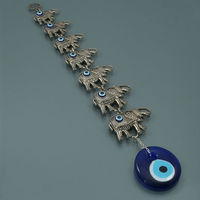 Wall Hanging Glass Evil Eye Ornament With Seven Elephants