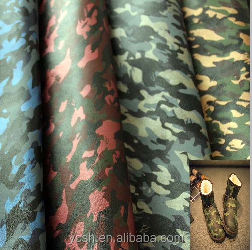 high quality camouflage leather fabric pu material for making snow boots
