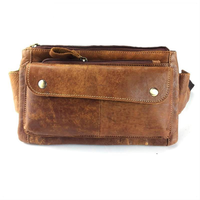 High Quality Vintage Oil Wax Leather Nubuck Genuine Cowhide Cow Men Waist Bag Bags Pack Packs For Man Bags