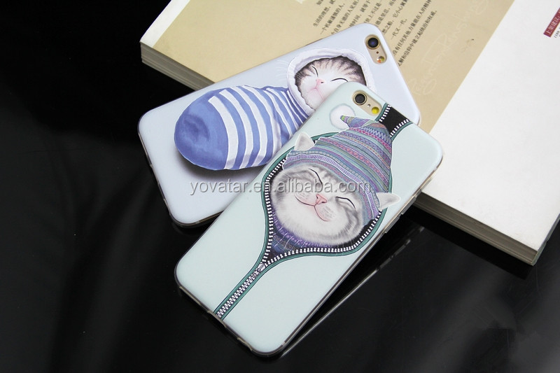 For embossed Silica gel Iphone 6S Case, For Mobile Phone Iphone 6S Casing, For Cartoon cute cats Iphone 6S Cover