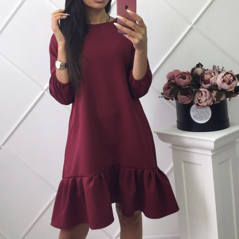 spring autumn fashion o-neck long sleeve lotus leaf <strong>dress</strong> for woman