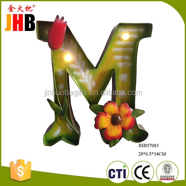 Antique design metal M letter home ornaments lighting for holiday