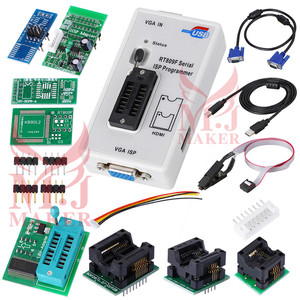 100% origanil Newest RT809F LCD ISP programmer with 8 adapters +sop8 IC  test clip + ICSP board /ISP cable