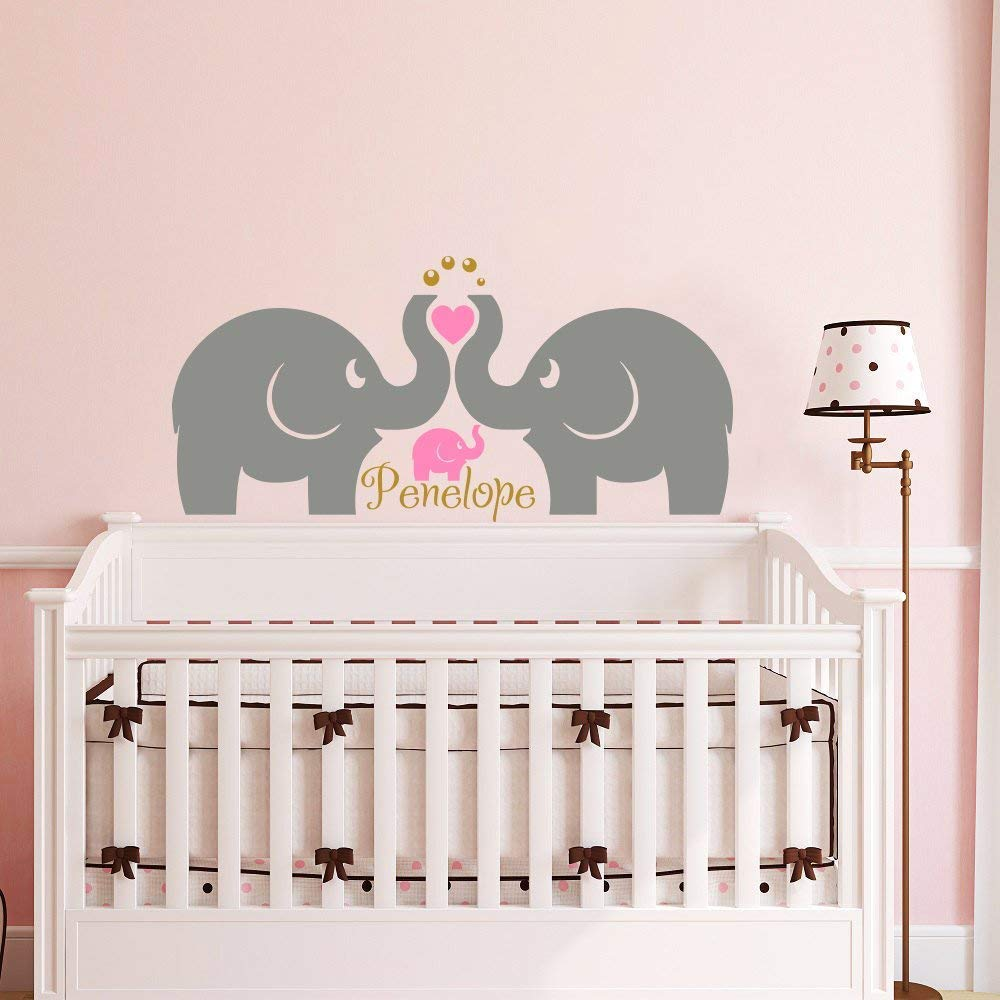 Wall Decal Name Elephant Sticker Vinyl Nursery