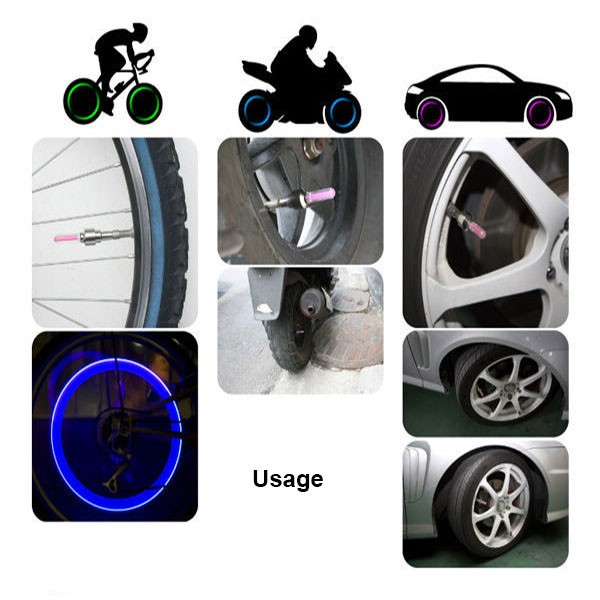 Car Bicycle Bike Accessories LED Flash Tyre Wheel Valve Cap Light LED Wheel Light