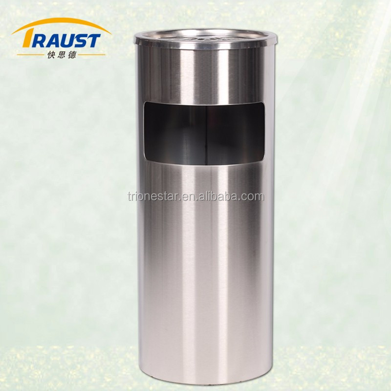 Round shopping mall stainless steel Waste Bin-17L