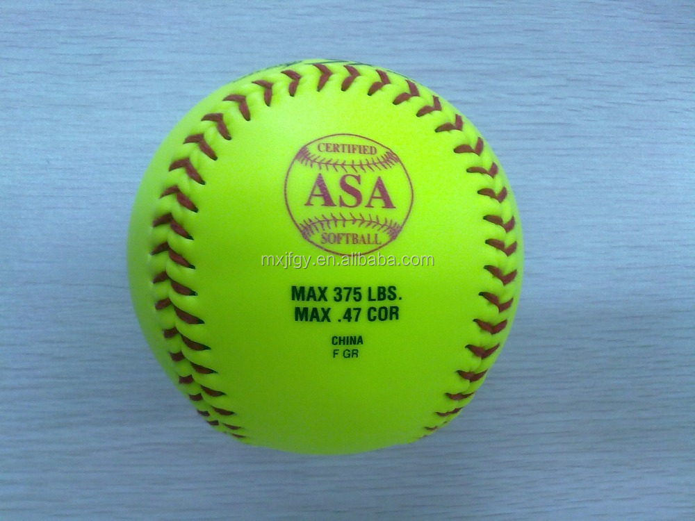 "12"" optic yellow leather game slow pitch softball with cork polyurethane core cor.40 .44 .47 .50 .52 compression 375 650"