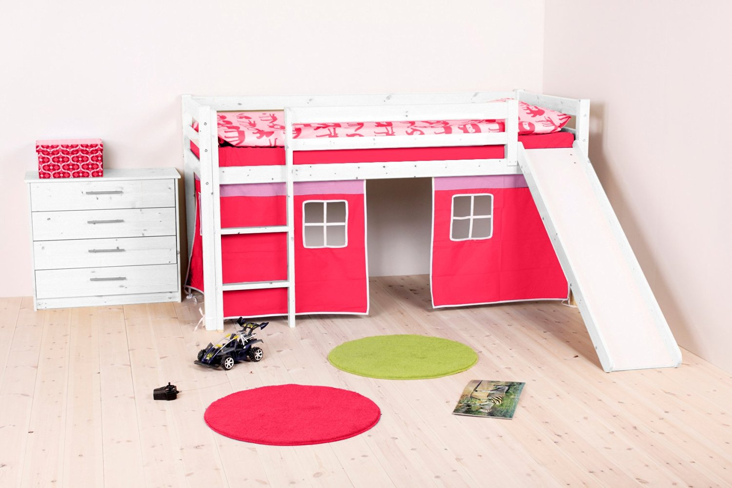 Thuka Girl's Castle Loft Bed With Slide & Bottom Playhouse Pink & Hot Pink Curtains – With Mid Sleeper Building Kit Including Safety Guard Rails & Ladder – Ideal Girl's Furniture Set - Nordic Pine