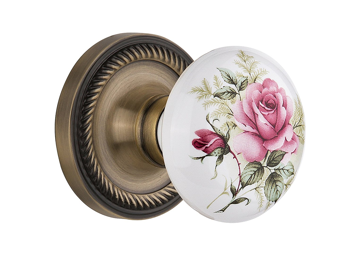 "Nostalgic Warehouse Rope Rosette with White Rose Porcelain Knob, Privacy - 2.375"", Antique Brass"