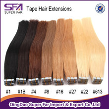 Hand made double drawn 100% human hair extensions tape hair