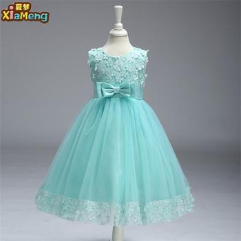 adee0d3c41f El estilo fresco verde color de niños vestidos para niñas nuevo estilo  elegante vestidos