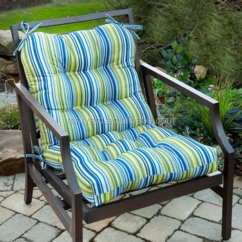 Low Back Tufted Patio Chair Cushion Pad Stripe Garden Recliner Cushions With Ties