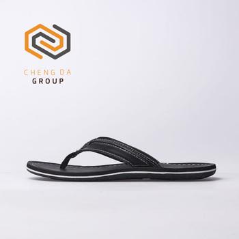7fa554795d2 Customized new style flat slippers men beach flip flops with pu upper eva  sole
