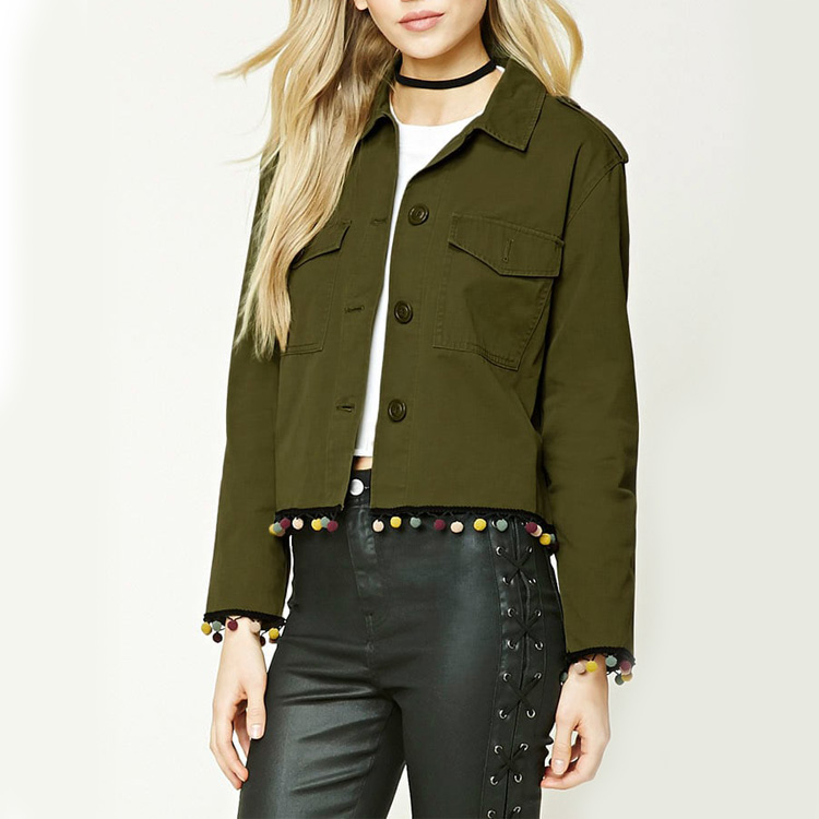 cheap wholesale ladies trendy dark olive woven cotton cropped ranger jackets