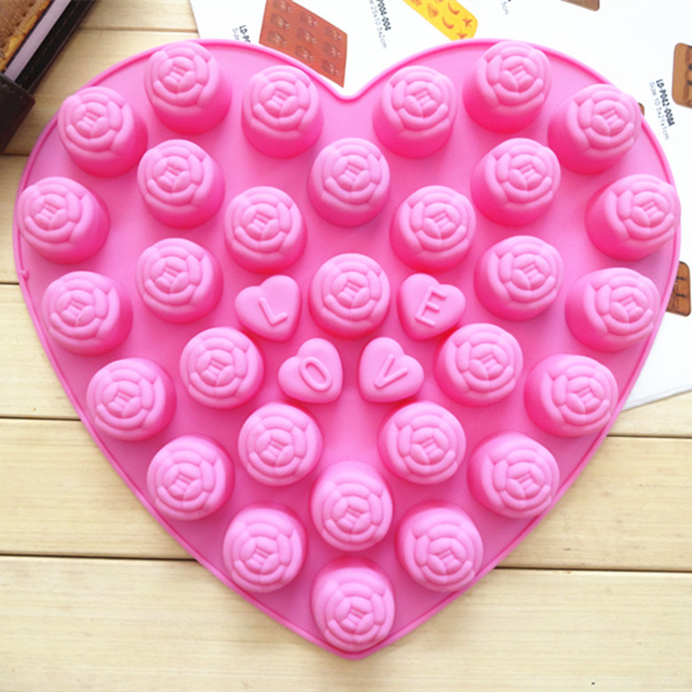 Newest product 30 rose chocolate mould with love Silicone handicraft cake tools