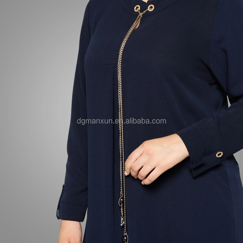 Latest fashion plain tunic tops long sleeve muslim tops gold chain elegant islamic clothing