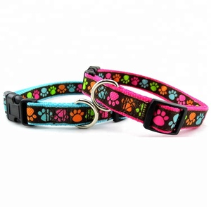 Custom Print Logo Paws Printing Nylon Dog Collar and Leash Set
