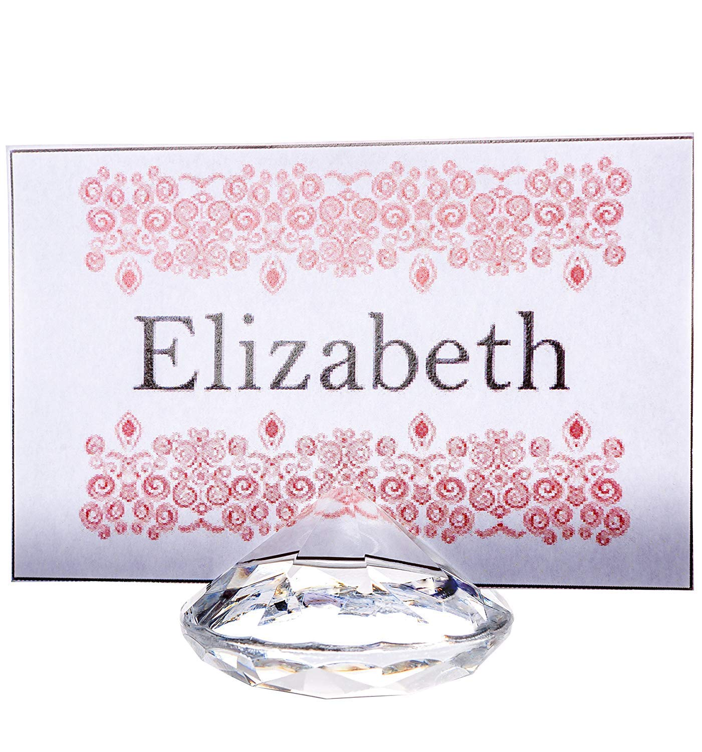 CLEAR Diamond Table Number & Place Card Holder, Set of 20. Sturdy Acrylic Name Card Holders for Wedding & Party Table Decorations
