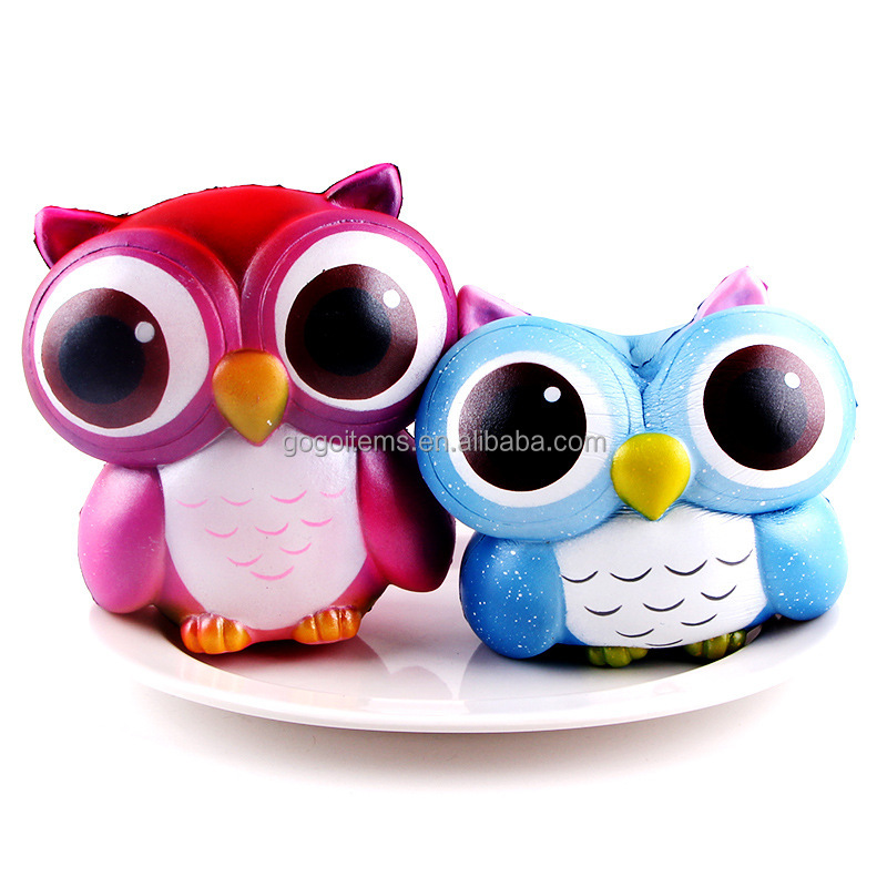2017 new product Cute Kawaii Scented japan soft supplier polyurethane foam big squishy owl hand wrist toys stress relief and Fun