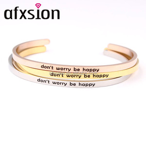 AFXSION popular inspirational 316L Stainless Steel Cuff Bracelet Bangle