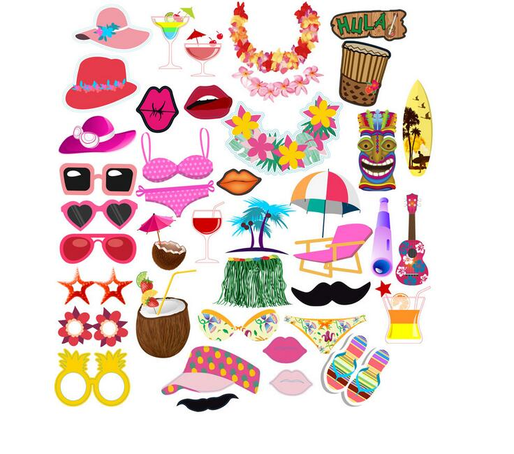2017 Newest 44Pcs Party Supplies Amazon Hawaii LUAU Photo Booth Props