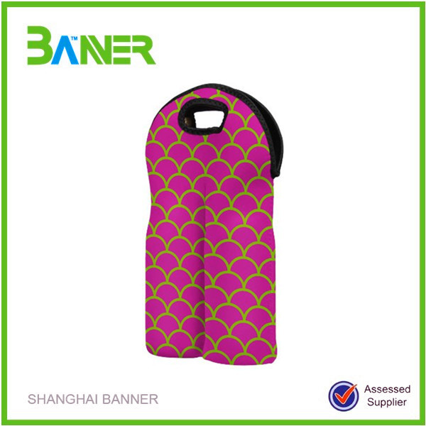 Top quality logo pattern printed promotional neoprene wine bottle bag