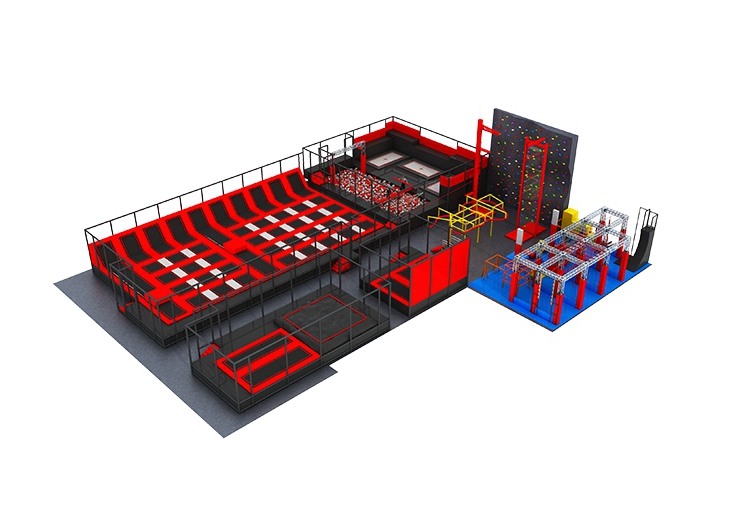 Large Commercial Indoor Adult Trampoline Park with Basketball Climbing Foam Pool