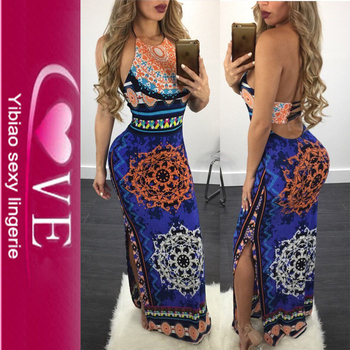 New Fashion Printing Party Maxi Sexy African Design Dresses
