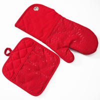 Kitchen Cooking Microwave Protective Mitt Heat Resistant Red Silicone Oven Mitts with eyelet