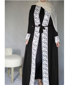 Latest Models Fashion Ladies Muslim Dress Lace Abaya With Belt