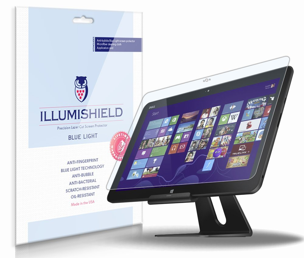 iLLumiShield – Dell XPS 18 (XPS018) (HD) Blue Light UV Filter Screen Protector Premium High Definition Clear Film / Reduces Eye Fatigue and Eye Strain – Anti- Fingerprint / Anti-Bubble / Anti-Bacterial Shield - Comes With Free LifeTime Replacement Warranty – [1-Pack] Retail Packaging