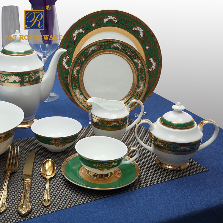 china supplier Professional Hotel decal dinnerware Embossed gold green Bone China Dinner Set