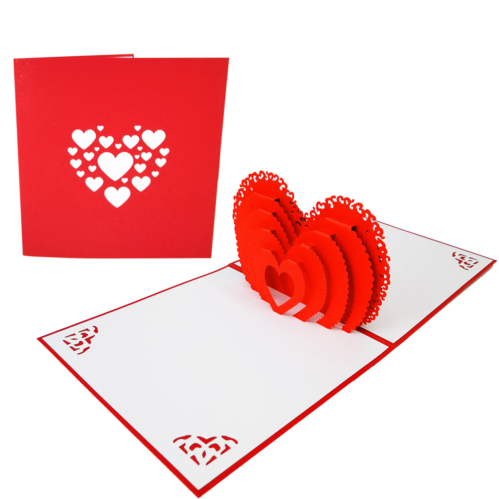 OEM design heart shape laser cut pop up wedding <strong>card</strong>