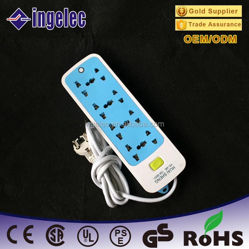 Commercial Application 8 Way Wall Universal Retractable Color Power Strip schuko electric extension sockets