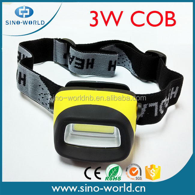 2016 New Hot Selling Super Bright Battery Operated ABS 3W COB night vision headlamp