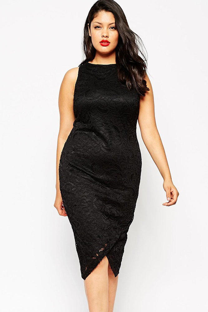 31b4eb4935c Get Quotations · 2015 Women Casual Summer Sleeveless Black High Neck Lace  Midi Dress Large Plus Size Clothing Bodycon