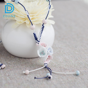Very nice jade sense ceramic necklace ceramic flower necklace for women dress up better
