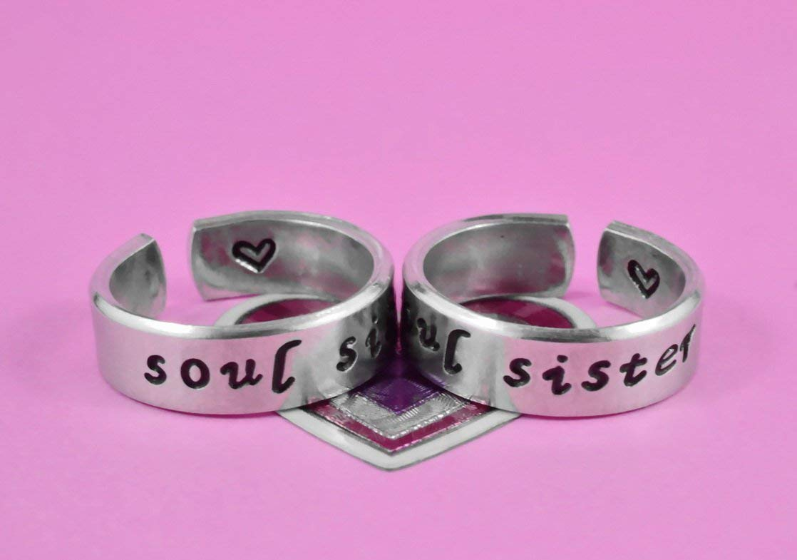 Soul Sister - Hand Stamped Aluminum Cuff Rings Set of 2, Sorority Sisters Jewelry, Best Friends BFF Besties Personalized Gifts